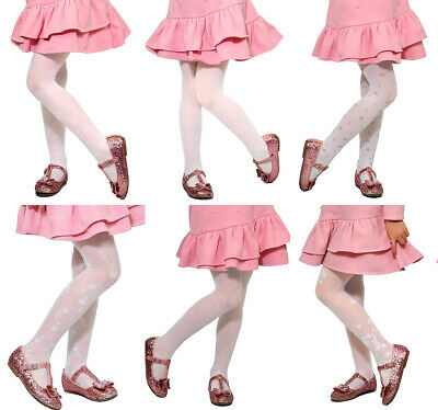 Girls Kids Pattern White Tights Holy Communion Bridesmaid Special Occasion