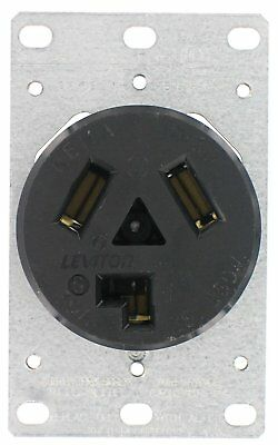 Leviton 800-05207-K Dryer Receptacle 30 Amp 125/250V Flush Mount Black, QTY 2