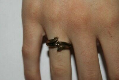Woman Vintage Fashion Swooping Design Brass Ring Band Jewelry Women
