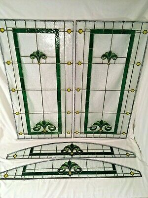 4 Victorian Stained Glass Window Panels Leaded Old Arts & Craft Chicago Bungalow