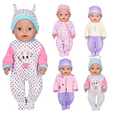 7 Pcs Doll Clothes with Hat and Coat for 43cm New Born Baby Dolls/ 15 inch Bitty
