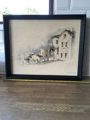 vintage ebony Style Wood  framed picture, cape town Malay Quarter South Africa