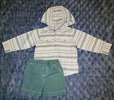 7b0733320d60 VGUC Carters Baby Boy Clothes 24 Months 2 Piece Hooded Shirt Shorts Outfit  Set