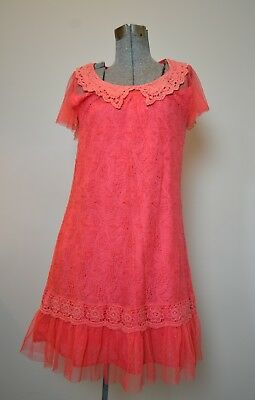 Anthropologie Areve Coral Lace & Crochet Dress Sz Medium