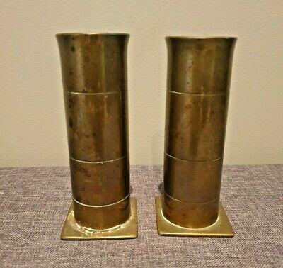Vintage Pair of Trench Art Brass Vases made from Shell Casing (War Military Art)