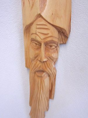 """Hand Carved Gnome / Dwarf - Large Face Carving - Poland  15-1/2"""" Long"""