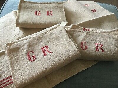 French hand woven linen monogrammed tea towel/torchon