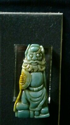 "Jadeite Jade Zhong Kui Ghost-Chaser Statue Finely Carved Bluish/Green 3 3/4""Tall"
