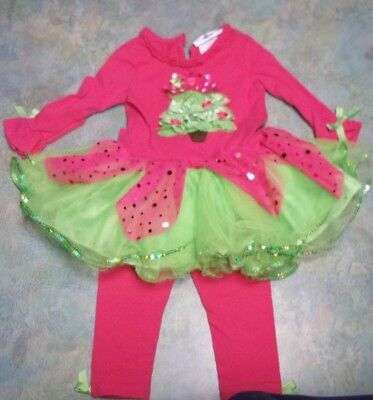 a4ae3bae5d9 Rare Editions Baby Girls Fuchsia CHRISTMAS TREE Holiday Tutu Dress Legging  12 M
