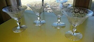 Antique LOT of Clear Etched Depression Glass Set of FOUR Sherbert Wine Glasses