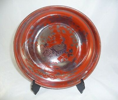 "Japanese Eiraku 10.75"" Iron Red Porcelain Bowl Silver Cranes ~ 6 Character Mark"