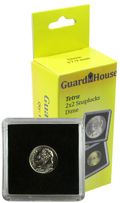 10 Guardhouse Tetra 2x2 Coin Holder Snap Capsule 18mm Dime $2.50 Gold Case