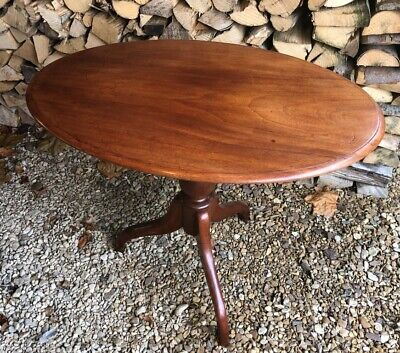 Antique Oval Mahogany Victorian Tilt Top Side Occasional Table  112
