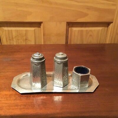 English Hammered pewter cruet set