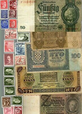 Nazi Germany And Occupied Europe Banknote, Coin And Stamp Set  # 105