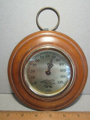 """Cooper Vintage Wall Thermometer round wood brass wood eagle USA 1950s 6"""" diam"""