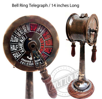 Collectible Desktop Brass Marine Ship Style Telegraph With Leather Box Decor Maritime Telegraphs Antiques