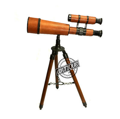 Halloween Brass Antique Finish Table Telescope with Folding Portable Wooden Trip