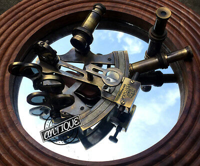 """Nautical Ship Instrument Astrolabe Marine Brass Sextant 5"""" inches Two Telescopes"""