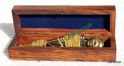 Antique Brass Bosun Whistle Boatswain Call Pipe Long Chain W Anchor Wooden Box