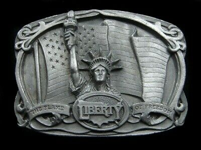 Sa09114 Vintage 1985 **Liberty The Flame Of Freedom** Commemorative Belt Buckle