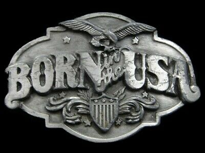 Sa09115 Vintage 1986 **Born In The Usa** Patriotic Pewter Siskiyou Belt Buckle