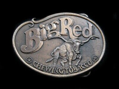 SA09127 VINTAGE 1970s **BIG RED CHEWING TOBACCO** ADVERTISEMENT BELT BUCKLE