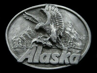 Sa09116 Vintage 1989 **Alaska** State Commemorative Pewter Belt Buckle