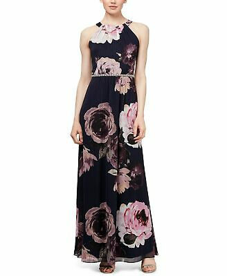 65c01cf8c4136 $215 Sl Fashions Womens Blue Purple Pink Floral Beaded Halter Maxi Dress  Size 10