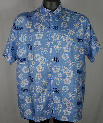 Tampa Bay Rays All Over Print Hawaiian Button Up SGA Shirt MLB M blue floral