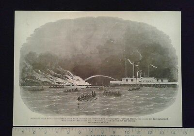 1885 Civil War Print - Confederate Fire-Raft from Fort Jackson