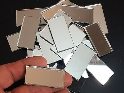 100 pieces, Silver Glass Mirror Tiles, 4 x 2 cm, 3 mm thick. Art&Craft,
