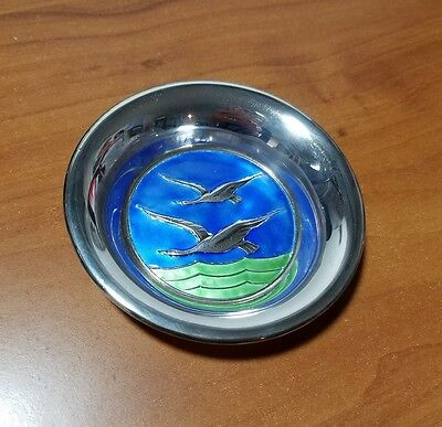 "Vintage Norway NM THUNE Sterling Silver Enamel Geese Miniature 4"" Plate"