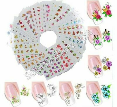 Nail Art Water Transfer Sticker Pretty Spring Flower Leave Rose Butterfly Decals