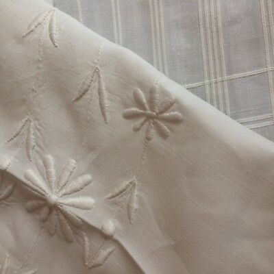 Antique silky ivory linen bed cover bedspread sheet madeira embroidery VICTORIAN