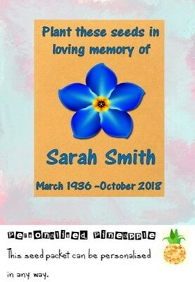 Funeral Seed Packets Forget Me Not Flowers Memorial Favour Brown Personalised