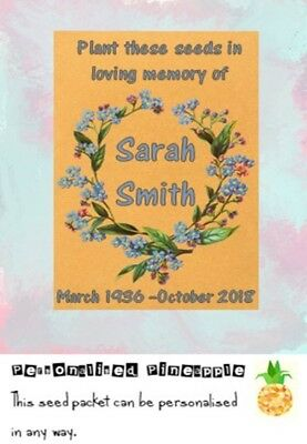 Funeral Forget Me Not Seed Packets Flowers Memorial Favour Brown Personalised