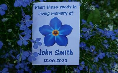 Funeral Forget Me Not Seed Packets Flowers Remembrance Favour White Personalised