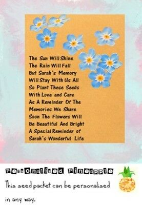 Funeral Seed Packets Forget Me Not Flowers Remembrance Favour Brown Personalised