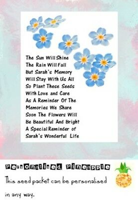 Funeral Seed Packets Forget Me Not Flowers Memorial Favour White Personalised