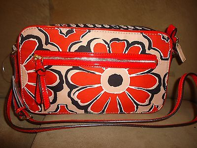 COACH POPPY $168 FLORAL FLIGHT BAG 25121 Orange Red Black Flower Crossbody Purse