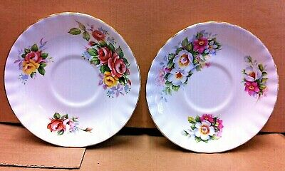 TWO Beautiful Royal Albert Bone China Summertime Series Saucers. 1980s. In VGC.
