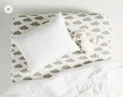 Anthropologie Lazybones ROSETTE Cot Pillowcase White Jersey toddler Pillow Sham
