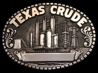 RG26142 VINTAGE 1980s **TEXAS CRUDE** OIL DERRICK SOLID BRASS OILFIELD BUCKLE