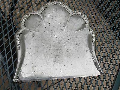 Antique Silver Plate Table Crumbs Catcher<Floral Scalloped Edge + Engraving