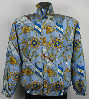 3e4dece1680098 80s 90s Vintage Baroque Nautical Rope Chains All Over Print Silk Bomber  Jacket