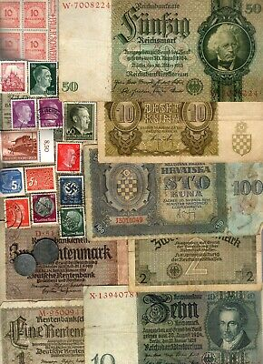 Nazi Germany And Occupied Europe Banknote, Coin And Stamp Set   # 97