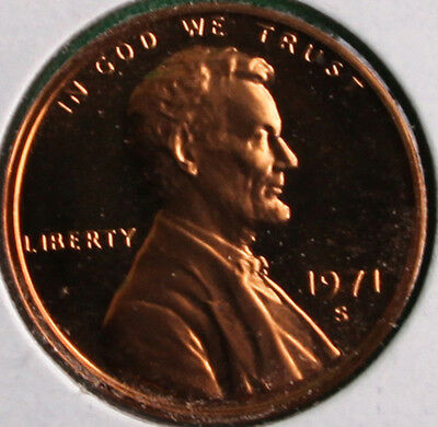 1971 S Lincoln Penny One-Cent Proof U.S. Mint Copper Coin 1c from Proof Set