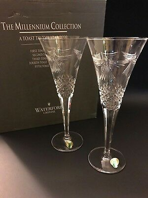 """WATERFORD CRYSTAL The Millennium Collection """"Peace"""" Toasting Flutes with Box"""