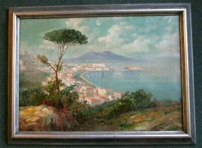 """WONDERFUL GIANNI OIL PAINTING OF NAPLES 24"""" x 32"""" FRAMED ON CANVAS CIRCA 1900"""